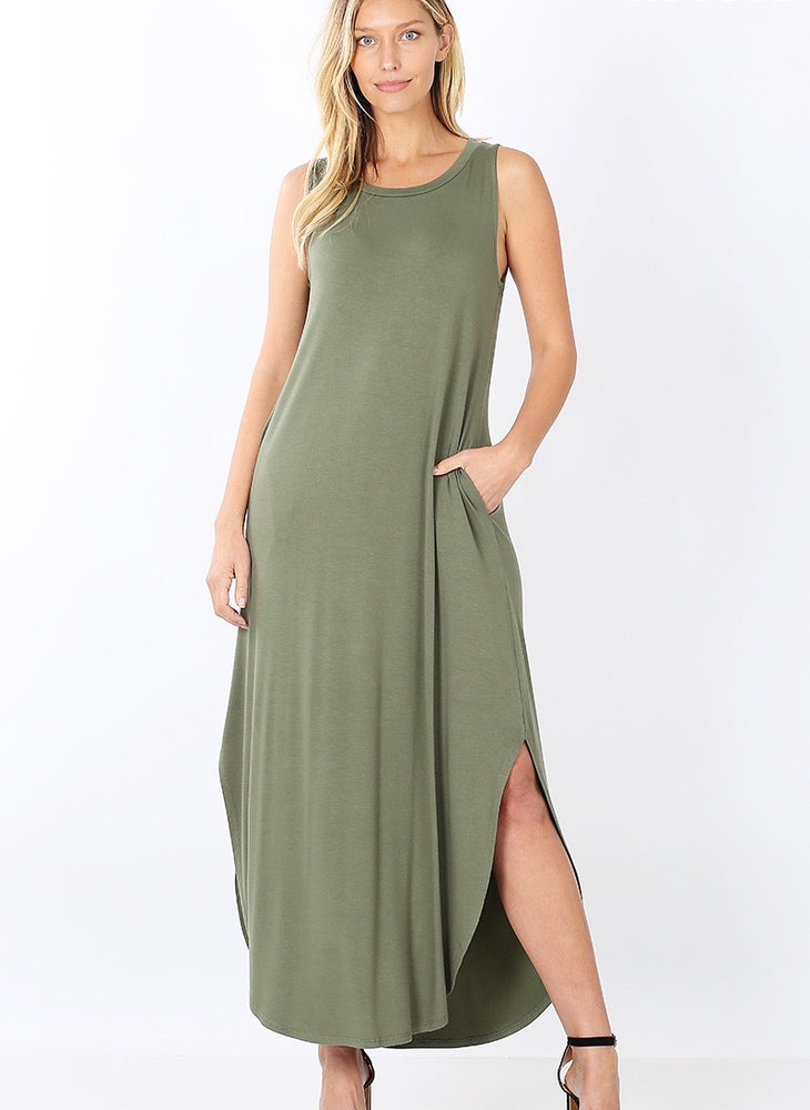 B+B Sleeveless Round Hem Maxi (Light Olive)