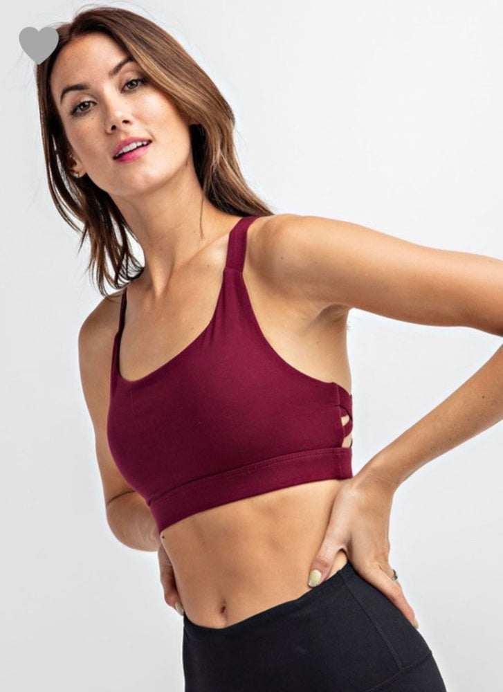 Take Notice Sports Bra in Burgundy