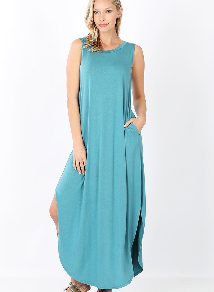 B+B Sleeveless Round Hem Maxi (Dusty Teal)