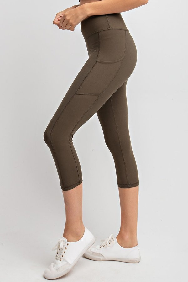 B+B Essential Capri Leggings (Olive)