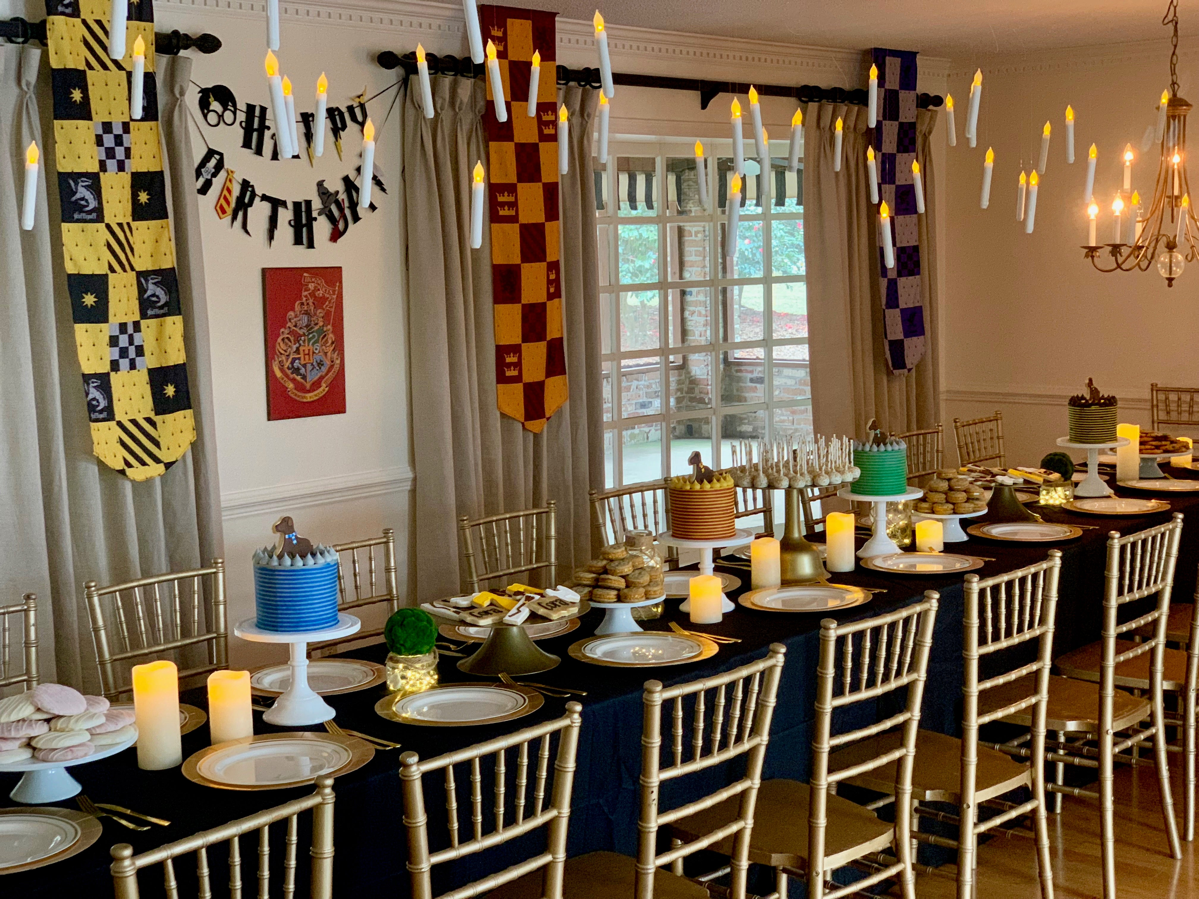 Harry Potter Birthday Party Table with Floating Candles