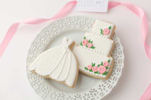 WEDDING DRESS & CAKE Cookie Box (12 ct)