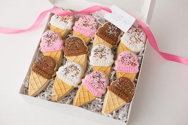 ICE CREAM CONE Cookie Box (12 ct)