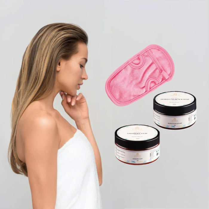 BODYCARE BUNDLE - BLACK SOAP, FACE MASK & BODY EXFOLIATOR GLOVE - PINK