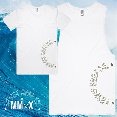 ASC MMXX Sleeve Print White/Khaki Tee or Muscle