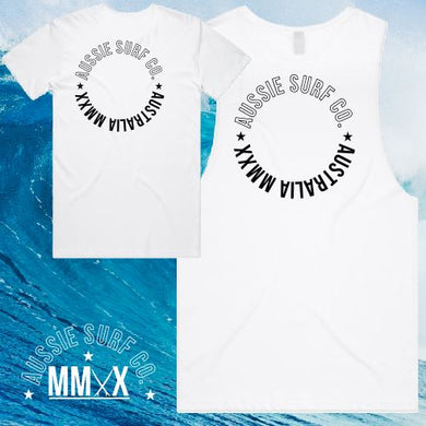 ASC MMXX Circle Print White/Black Tee or Muscle