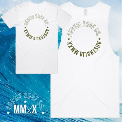 ASC MMXX Circle Print White/Khaki Tee or Muscle