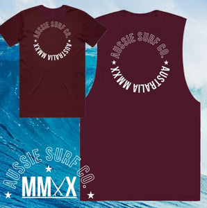 ASC MMXX Circle Print Maroon Tee or Muscle