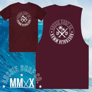 ASC MMXX Palm Print Maroon Tee or Muscle