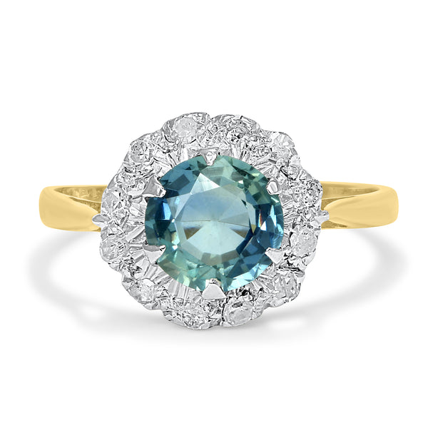 Josephine vintage style sapphire and diamond engagement ring