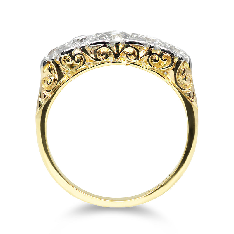 Beatrice Victorian carved five stone diamond ring