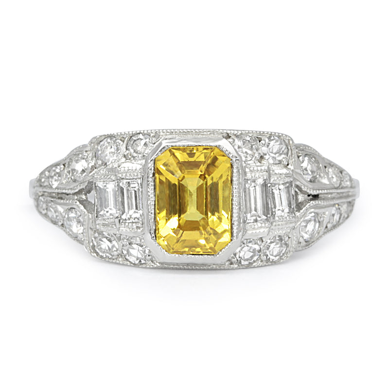 Coco Art Deco style yellow sapphire and diamond ring