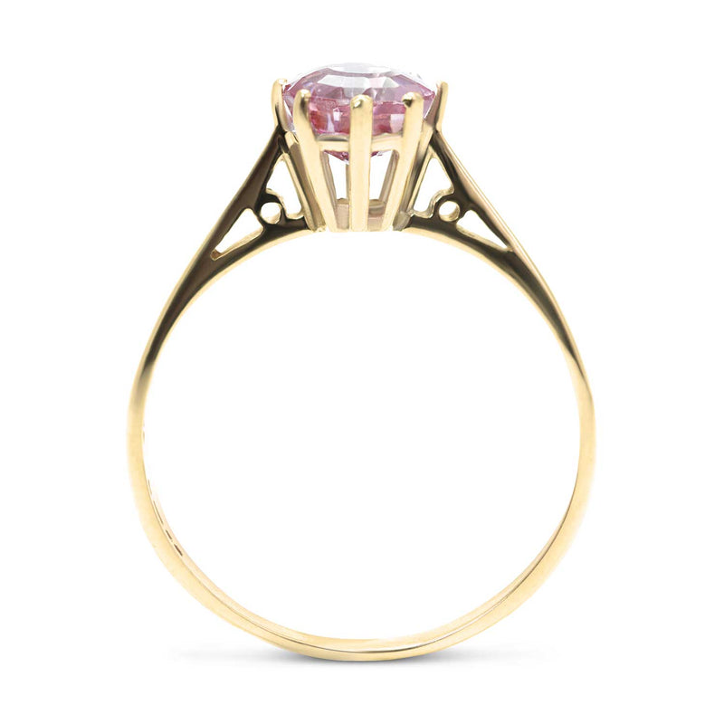 Georgia vintage pink tourmaline engagement ring side view