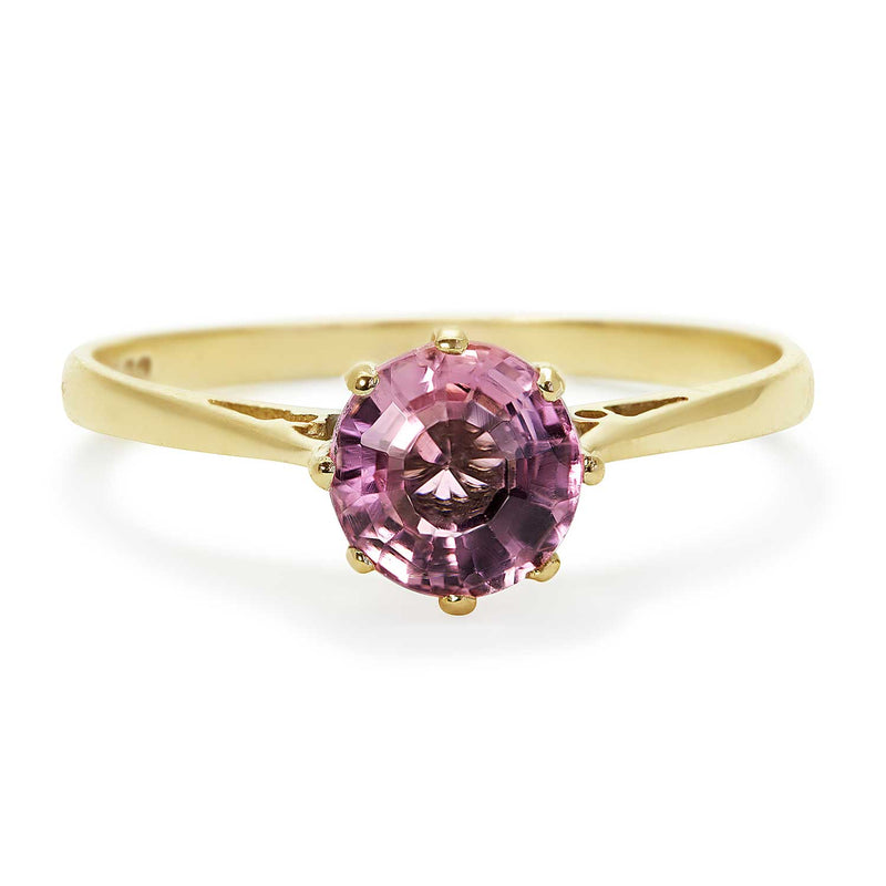 Georgia vintage pink tourmaline engagement ring