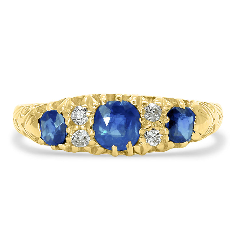 Grace sapphire and diamond Victorian engagement ring