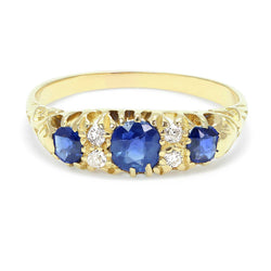 Grace Victorian sapphire and diamond engagement ring