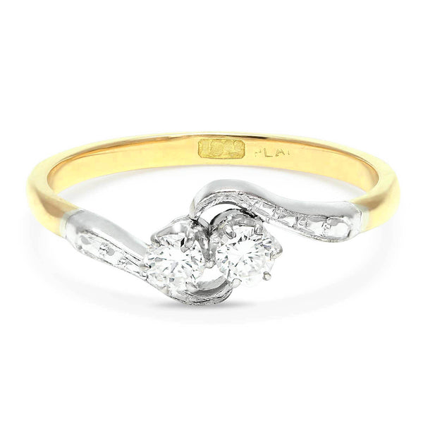 Lilian Art Deco crossover diamond engagement ring