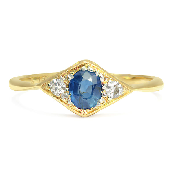 Maggie Art Deco three stone sapphire and diamond ring