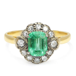 Penelope Victorian emerald and diamond engagement ring