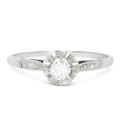 Rose antique diamond engagement ring