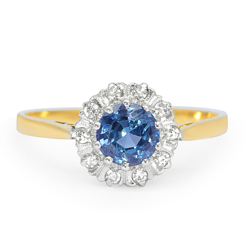 Silvia sapphire and diamond engagement ring