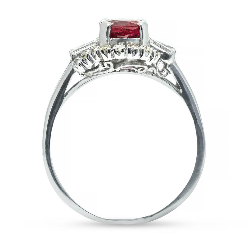 Tabitha vintage style ruby and diamond engagement ring