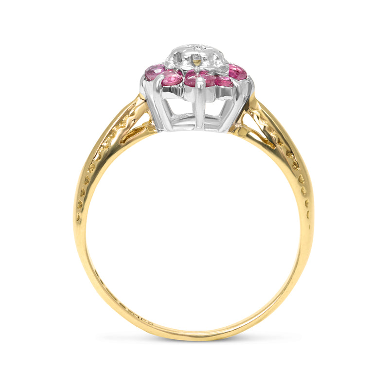 Audrey vintage style ruby and diamond cluster ring