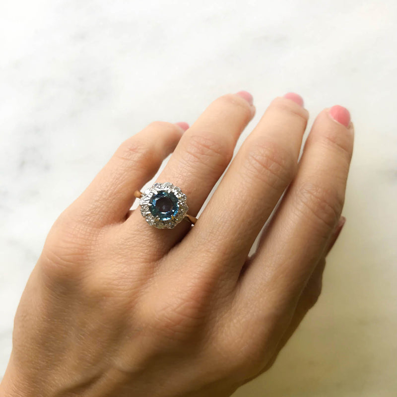 Josephine vintage style sapphire and diamond engagement ring on hand 3
