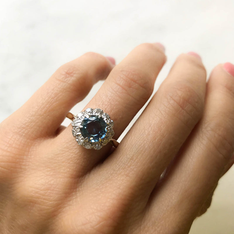 Josephine vintage style sapphire and diamond engagement ring on hand 2
