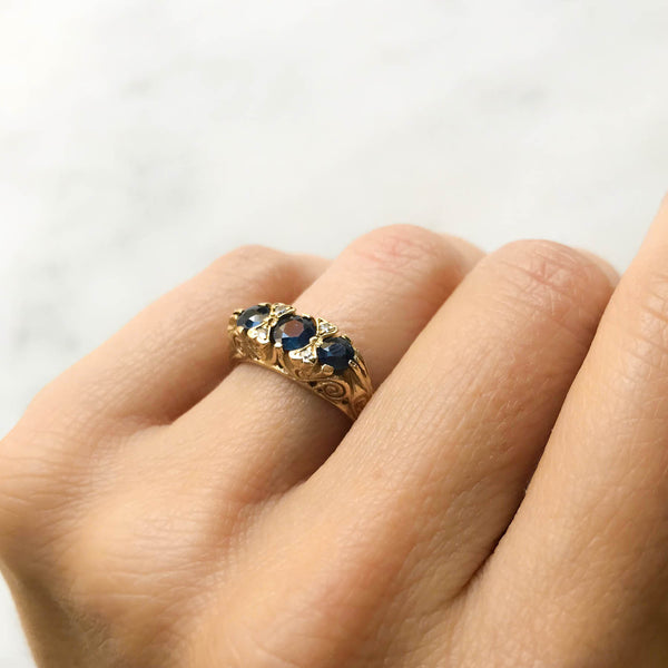 Ada vintage style three stone sapphire engagement ring