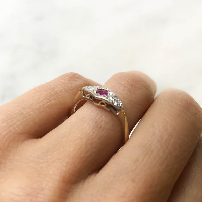 Ava ruby and diamond Edwardian engagement ring