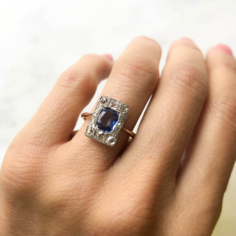 Edie sapphire and diamond Edwardian engagement ring