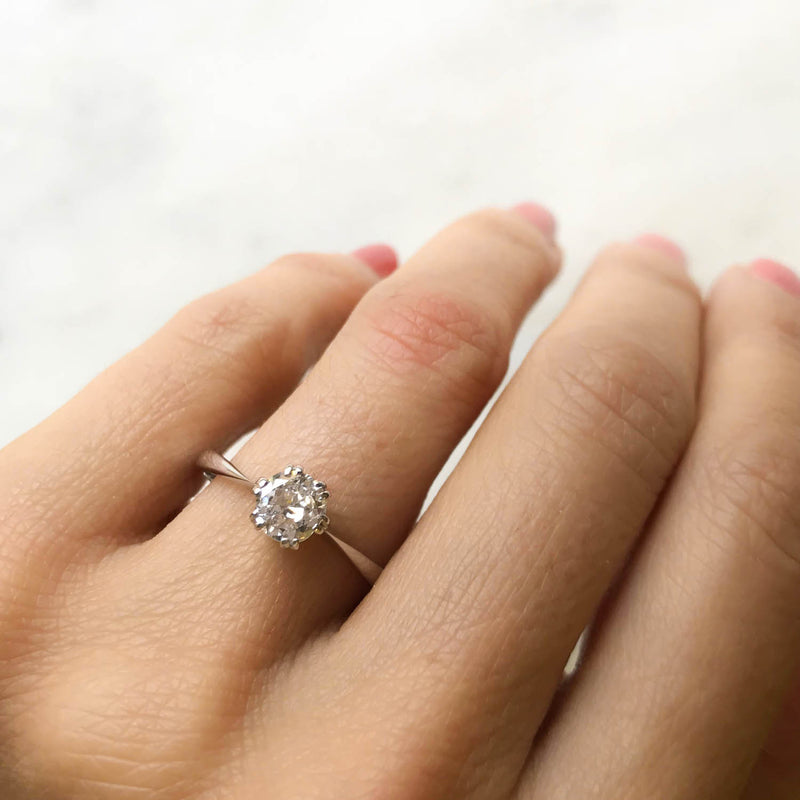 Elizabeth 0.52 carat old cut diamond vintage engagement ring