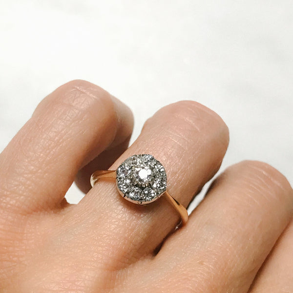 Eliza diamond cluster Victorian engagement ring