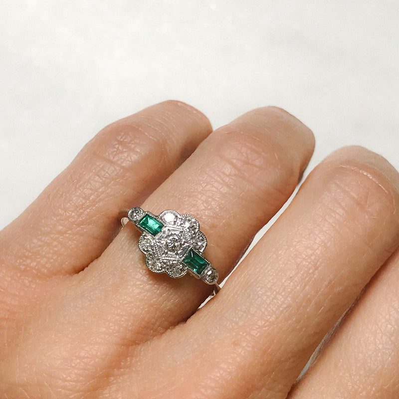 Etta emerald and diamond Art Deco engagement ring