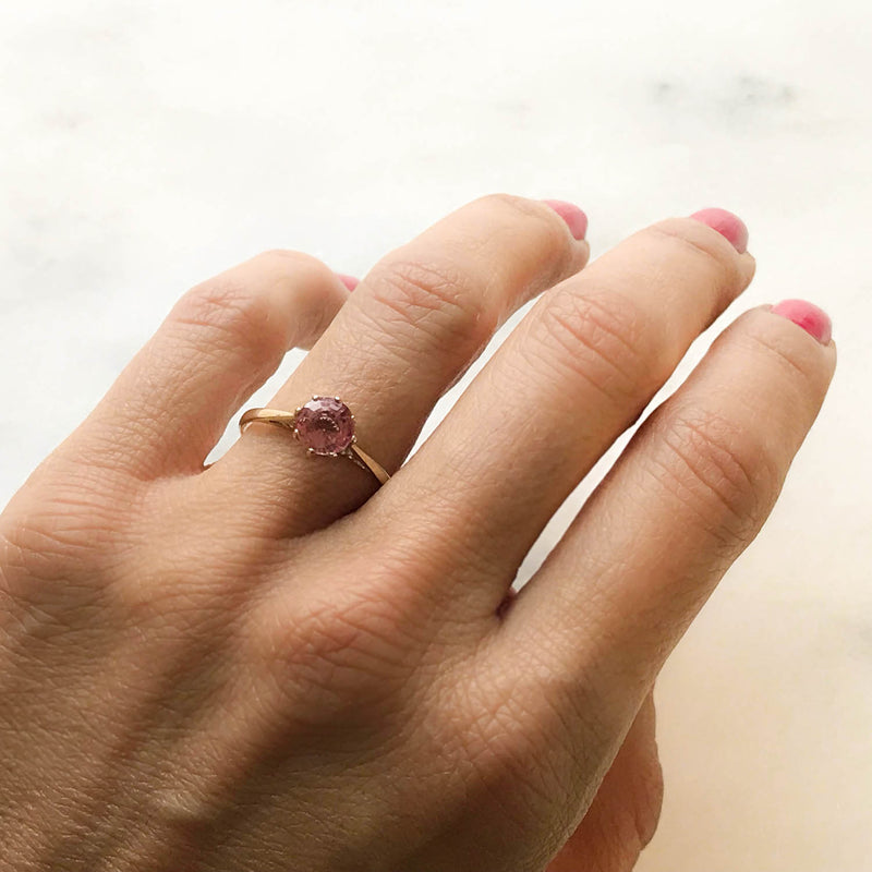 Georgia pink tourmaline vintage engagement ring