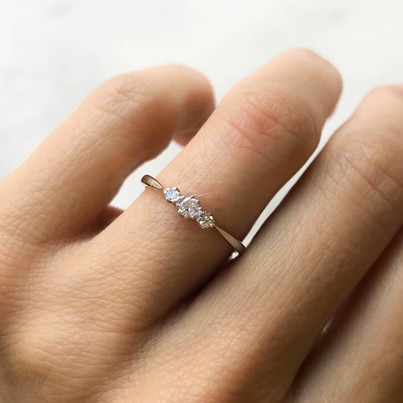 Millie three stone diamond Victorian engagement ring