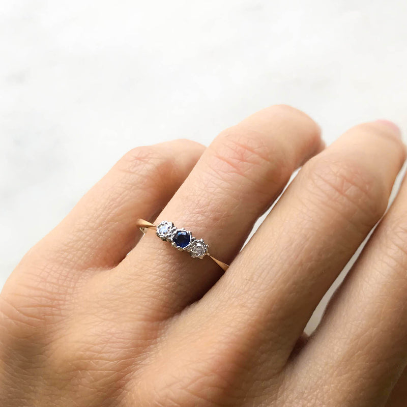 Stella three stone sapphire and diamond mid-century engagement ring