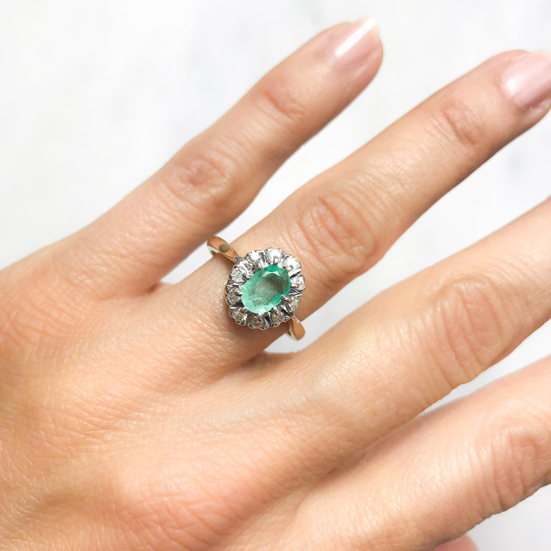 Kitty emerald and diamond engagement ring