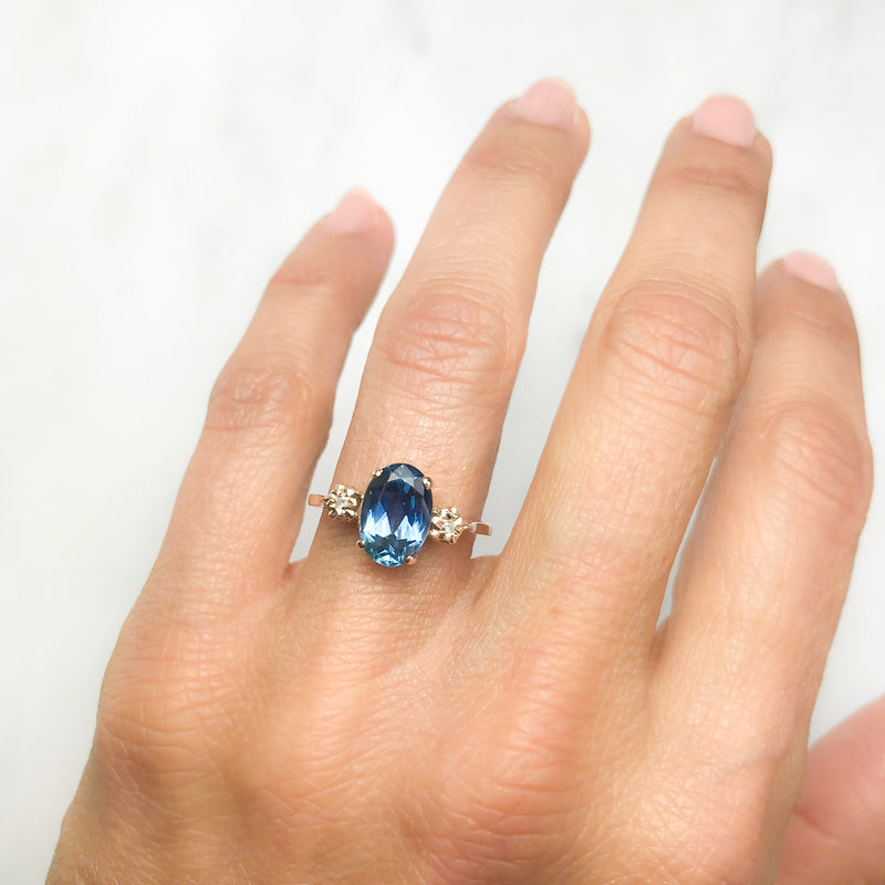 Olive sapphire and diamond engagement ring
