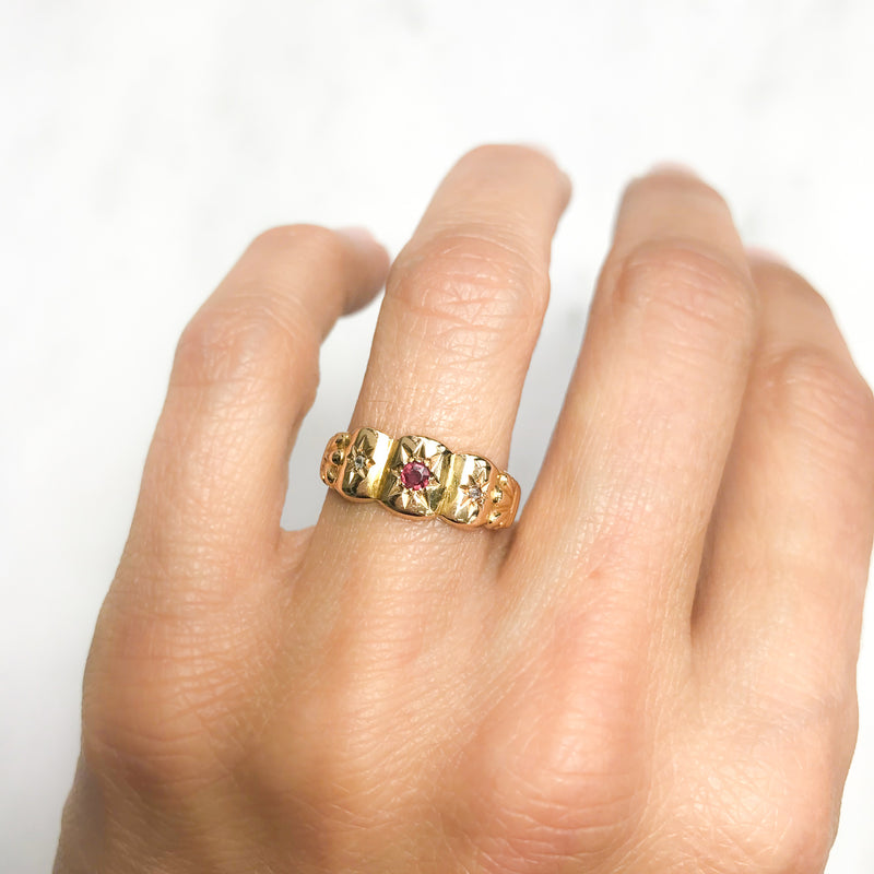 Peggy ruby and diamond Edwardian three stone ring