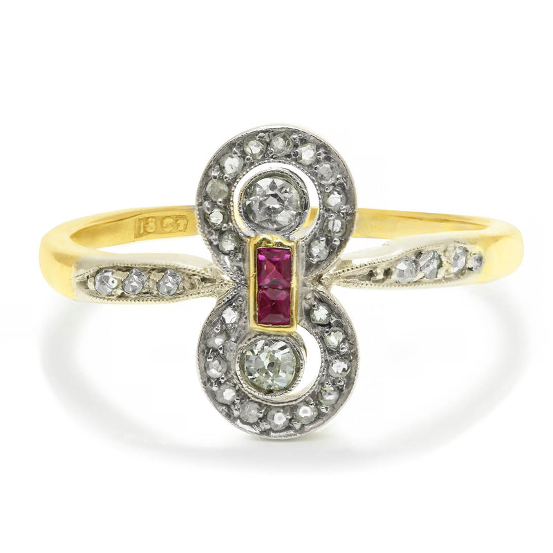 Violette ruby and diamond Edwardian engagement ring