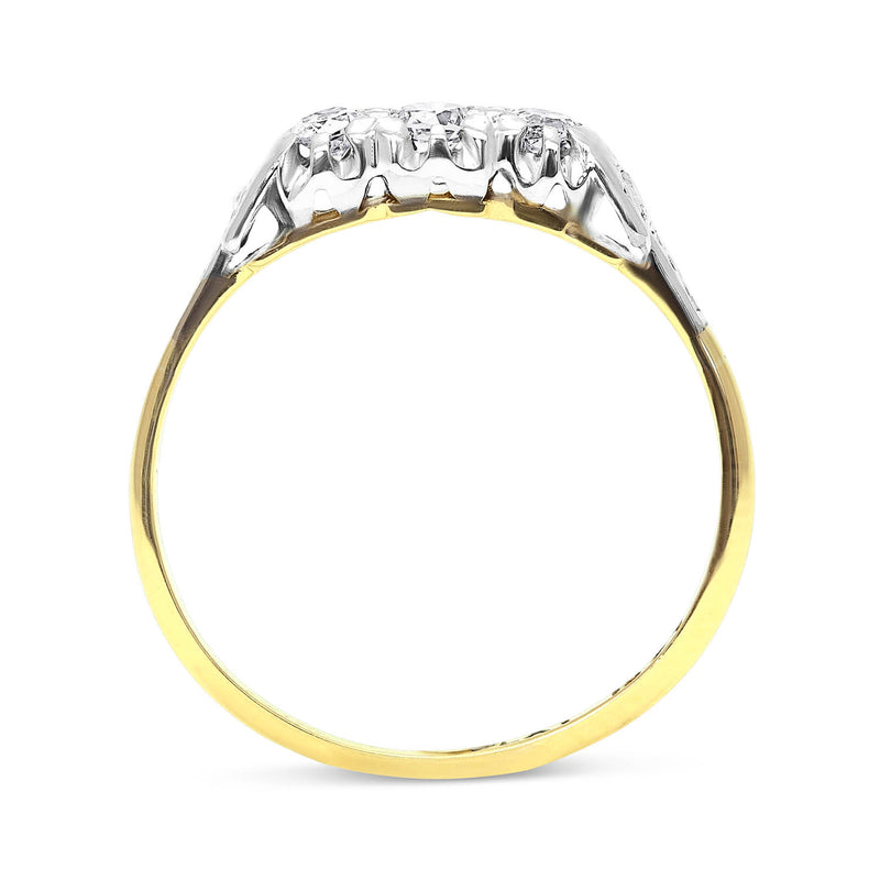 Dorothy mid-century three stone diamond engagement ring side view