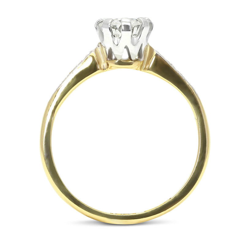 Evelyn mid-century 0.50 carat diamond engagement ring side view