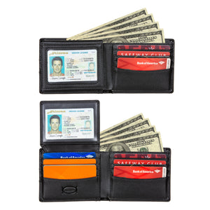 Public Cheese Men's Bifold Slim Wallet Featuring Swing Flap with 2 Separate ID Windows 2 Cash Compartments and 8 Credit Card Slots Open Wallet View