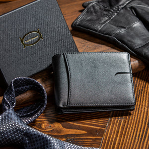 Public Cheese Slim Bifold Wallet with Luxury Gift Box and Men's Clothing and Accessories PU Leather