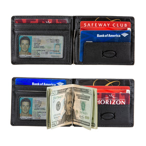 Public Cheese Men's and Women's Black Slim Front Pocket Wallet with Money Clip 6 Slots for Credit Cards and Driver's License