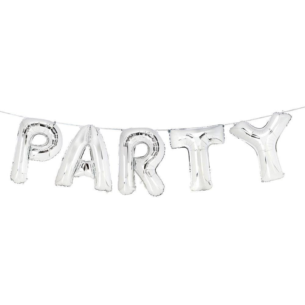 letras globos party plata