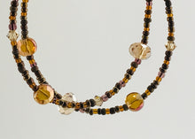 Load image into Gallery viewer, glass and crystal bracelet in golds and browns