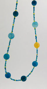 blue and yellow glass bead necklace